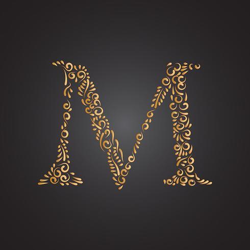 Floral Ornamental Golden Letter M
