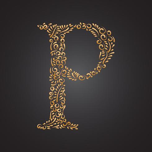 blommig guld prydnadsbrev p