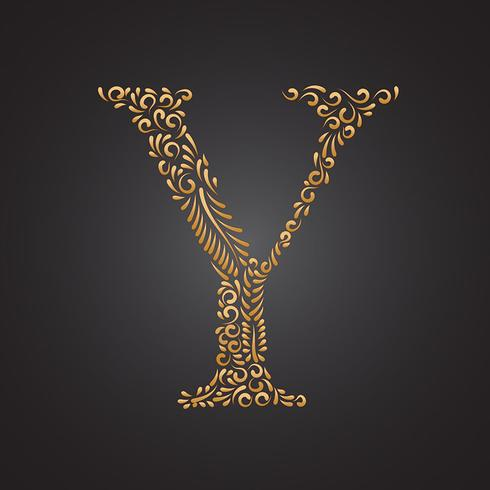 Letra Ornamental dourada floral Y