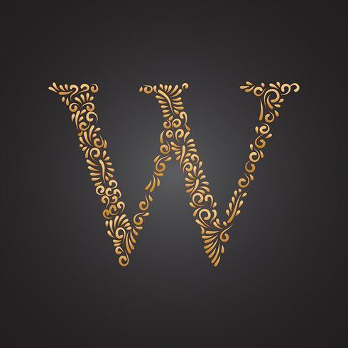Floral Golden Ornamental Letter W