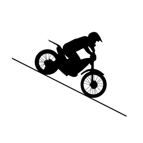 zwart silhouet van motorfiets vector