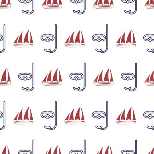 Nautical seamless pattern with ship and mask.