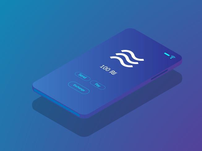 smartphone mobile avec pièce de monnaie de balance