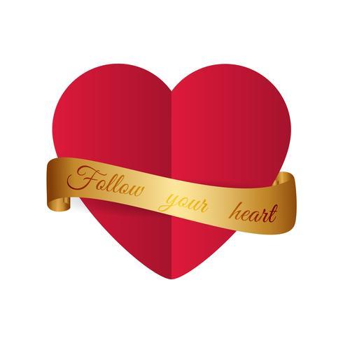 Design motivazionale Cuore rosso stile carta tagliata con ribbo dorato