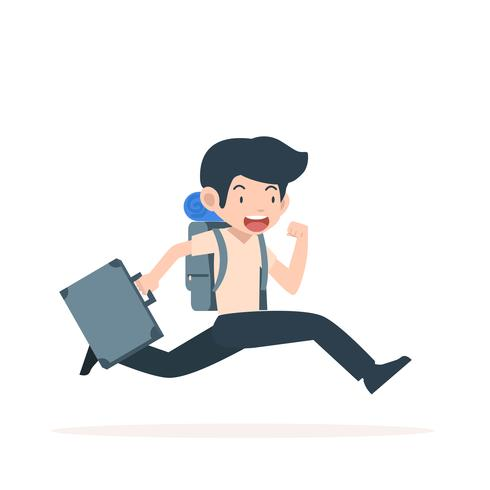 Tourist man running  With Backpacks vector