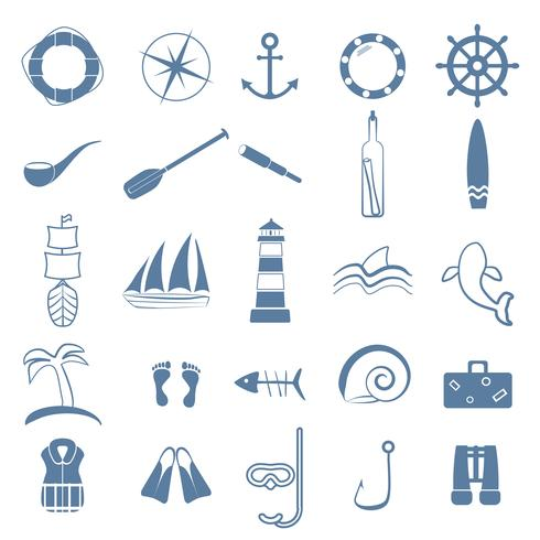 ocean line art icons set vector