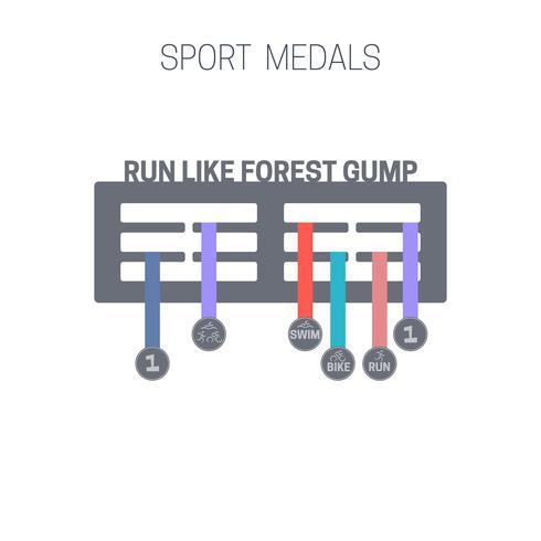 Médailles de sport plat.