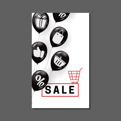 Sale banner design with air balloons and shopping symbols vector