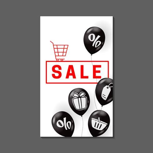 Diseño de banner de venta con globos aerostáticos y símbolos de compra.