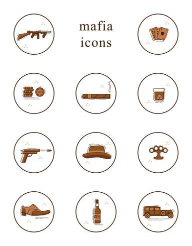 Collezione di icone di vettore linea arte mafia.