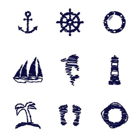 scribble nautical elements. vector