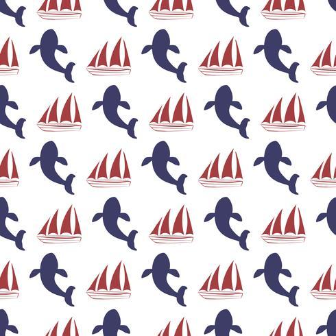 Nautische naadloze patroon met schip en walvis.