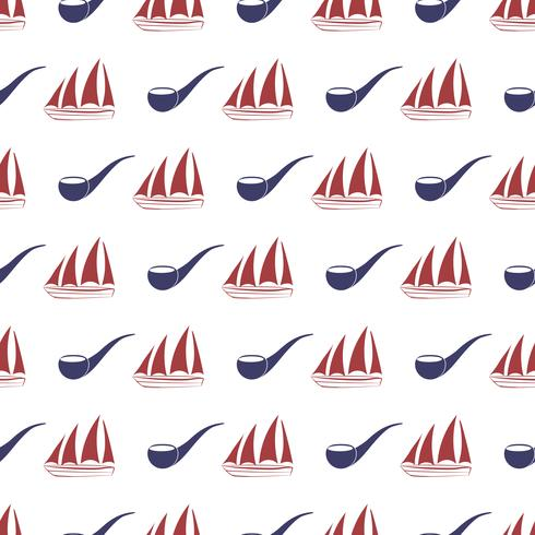 Nautical seamless pattern with ship and tobacco pipe. vector