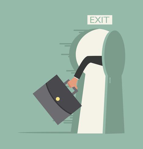 mão segure maleta correr para abrir a porta de saída