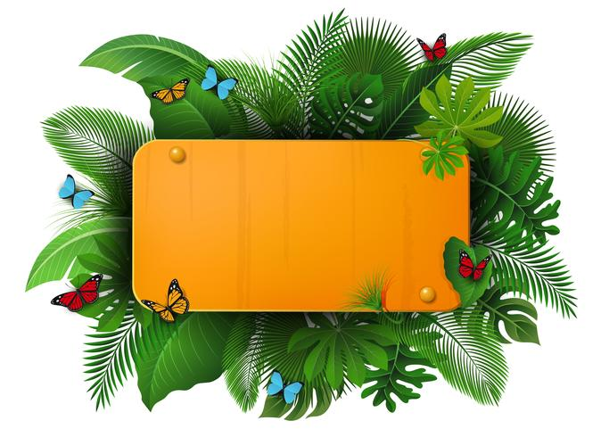 Gold sign with text space of Tropical Leaves and butterflies. Suitable for nature concept, vacation, and summer holiday vector