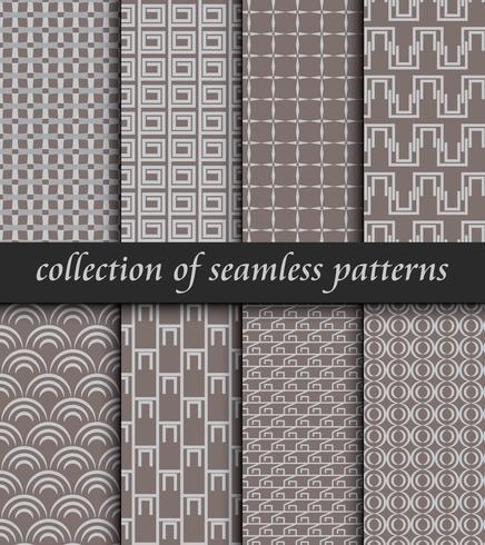 Conjunto de patrones sin fisuras art deco. Texturas modernas con estilo. fondos abstractos