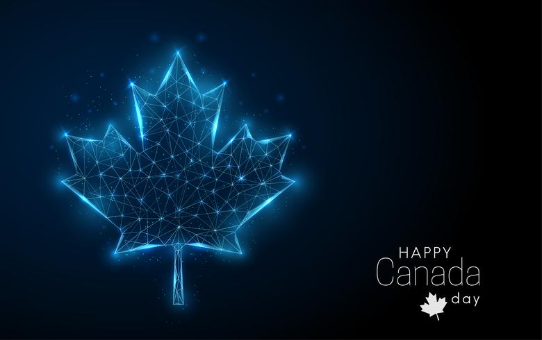 Happy Canada Day template. Low poly maple leaf. vector