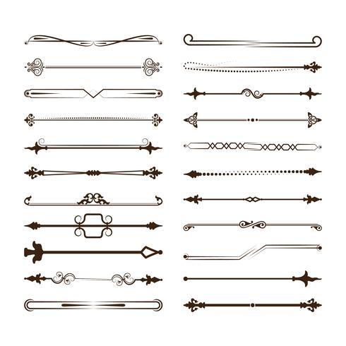 Samling av vektoruppdelare. Kan användas för design, brev, smycken, presenter, bärbara datorer