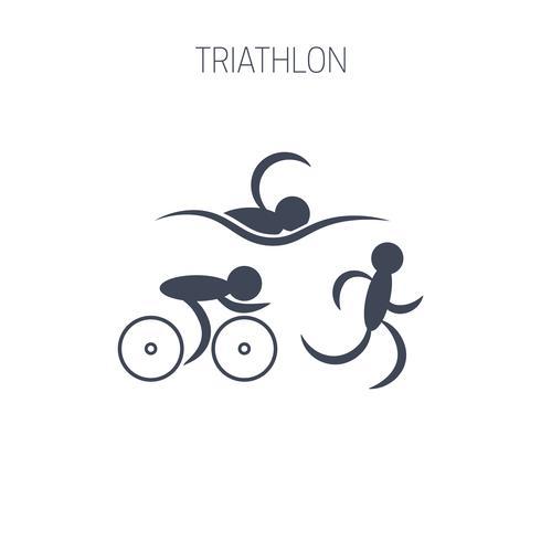 Simbolo del triathlon: corsa, nuoto e ciclismo. vettore