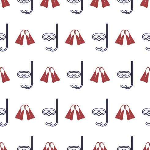 Nautical seamless pattern with flippers and diving mask. vector