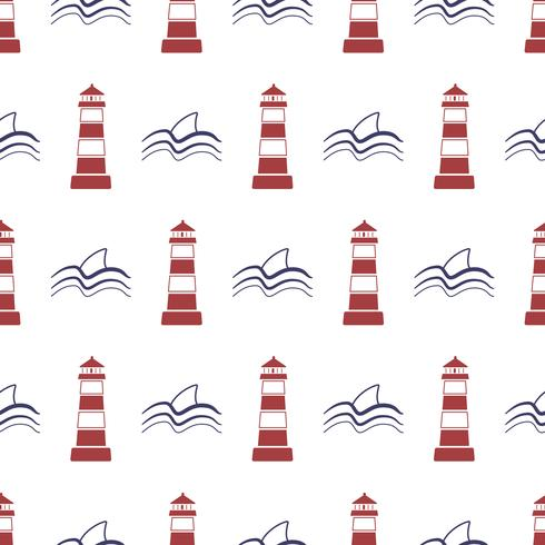 Nautical seamless pattern with lighthouse and shark.