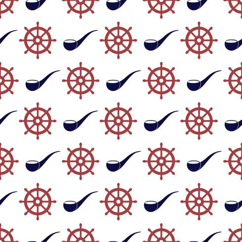 Nautical seamless pattern with wheel and tabacco pipe. vector