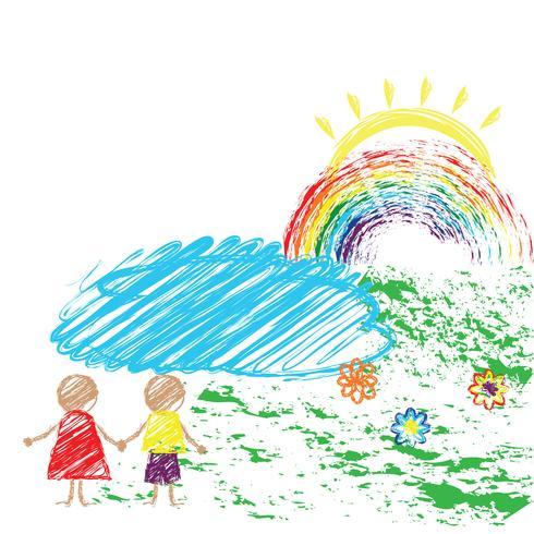 Lápis de desenho infantil com a imagem das crianças e o arco-íris. Vetor