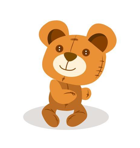 Vetor de boneca fofo urso de pelúcia