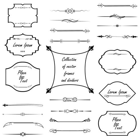 Calligraphic design elements. Dividers, frames of different shapes. Vector