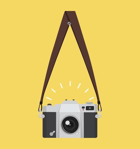 hangende oude camera in een vlakke stijl met riem