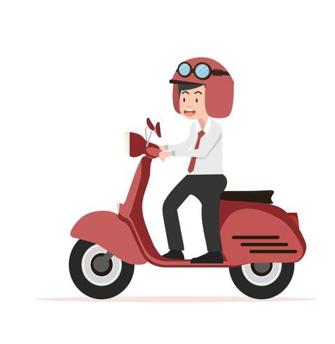 businessman riding  red motorcycle Flat design