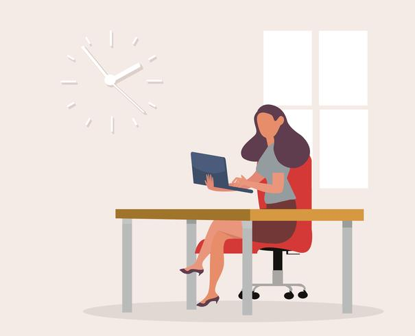 businesswoman working with laptop at office space