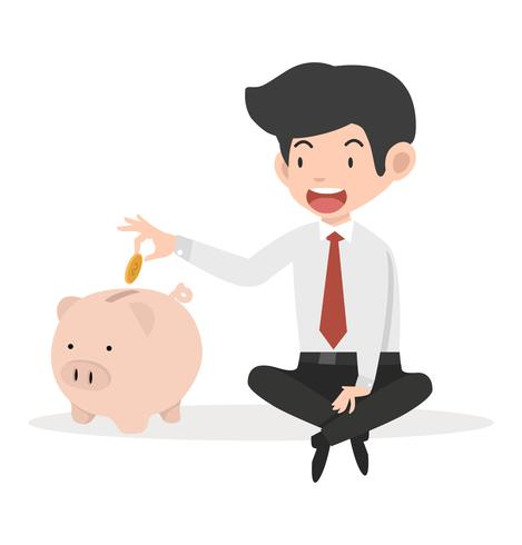 Affärsman sätta mynt ett spargris koncept