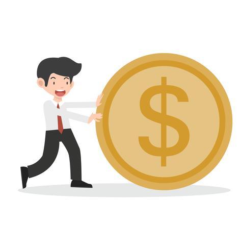 Feliz, homem negócio, com, moeda corrente indo