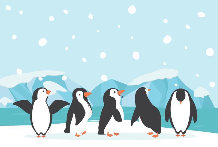 Winter North pole Arctic landscape penguin vector