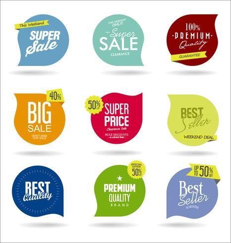 Coleção de distintivos e etiquetas de venda moderna