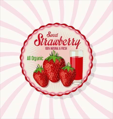 Fresh strawberry and juice glass background vector