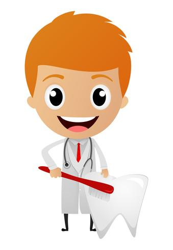 Dibujos animados de dentista feliz
