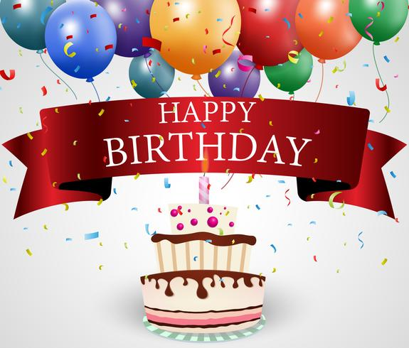 Verjaardag ontwerp met ballon en confetti