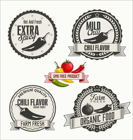 Conjunto de orgânicos e Bio legumes crachás em estilo Vintage