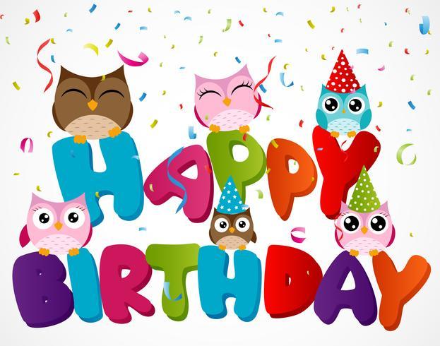 Feliz aniversário, cartão, com, coruja