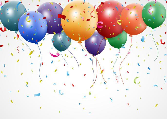 Diseño de cumpleaños con globo y confeti.
