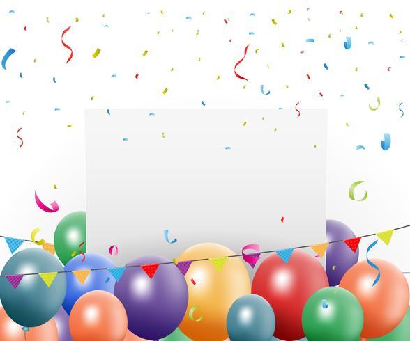 Design de aniversário com balão e confete