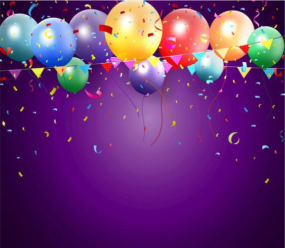 Disegno di compleanno con palloncino e coriandoli