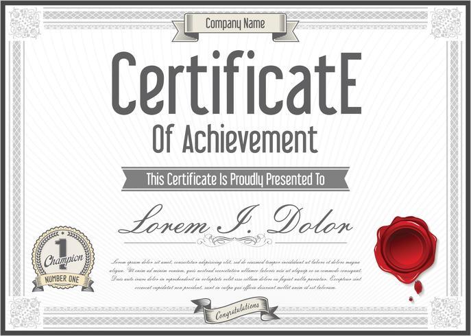 Ilustración de vector de plantilla de diseño retro certificado o diploma