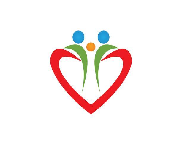 Salud personas cuidado plantilla vector logo