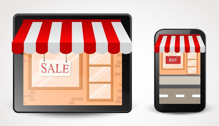 conceito de compras de loja on-line no smartphone