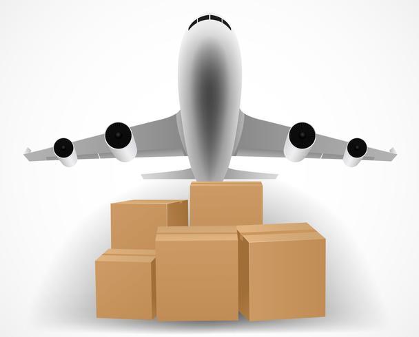 Flugzeug-Lieferungskonzept mit Stapel von Paketen