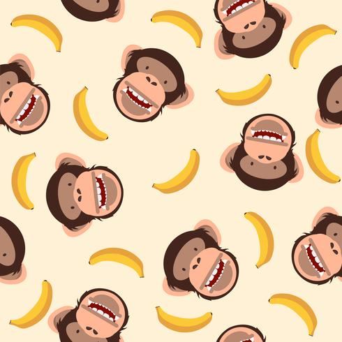 Cute chimpanzee head with banana pattern vector