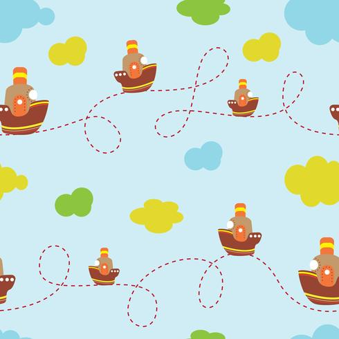 Fondo infantil con la imagen de un barco, nubes. Para uso en diseño, textiles, diseño.